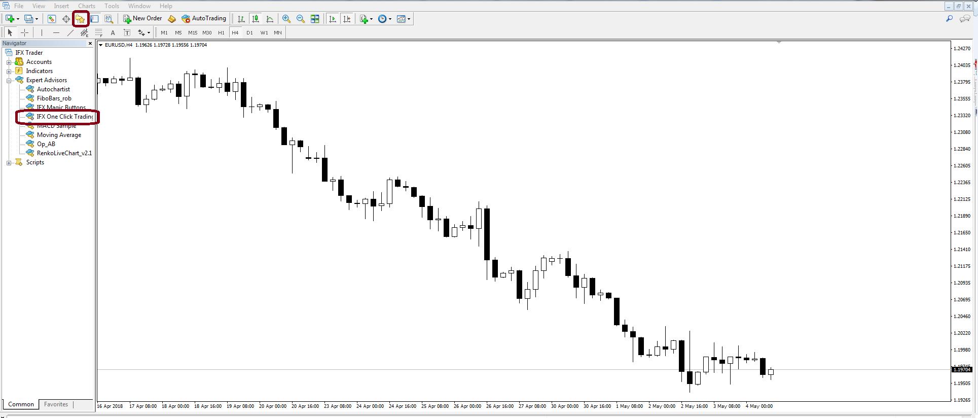 One click trading. Screenshot
